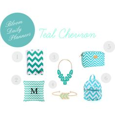 """""""Teal Chevron Picks"""" by bloomdailyplanners on Polyvore"""
