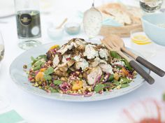 A beautiful salad that sings with colour and flavour - tender chicken in a Moroccan spiced marinade with Israeli couscous, pomegranate seeds and a scrumptiously good yoghurt coriander dressing. Raw Food Recipes, Salad Recipes, Dinner Recipes, Cooking Recipes, Healthy Recipes, Savoury Recipes, Yummy Recipes, Morrocan Food, Moroccan Salad