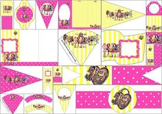 Yellow and Pink Ever After High: Free Party Printables.