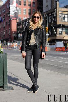 Street Chic: New York Nicole wears an Improvd jacket, Rag & Bone pants, and Osklen shoes. Photo: Adam Katz Sinding/Le 21ème Arrondissement