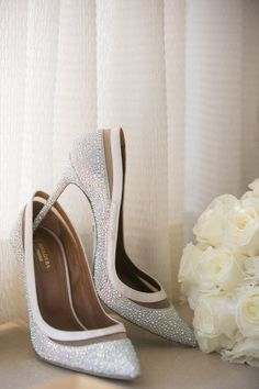 Sparkly wedding shoes for bride - heels with silver sparkle {THE PRIVILEGE IS MINE}