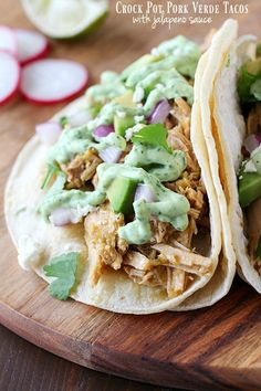 Celebrate Taco Tuesday with these Crock Pot Pork Verde Tacos served with a drizzle of amazing jalapeño sauce. You will love the flavor in these pork tacos and love how easy they are to make! Pork Recipes, Slow Cooker Recipes, Mexican Food Recipes, Crockpot Recipes, Whole Food Recipes, Chicken Recipes, Dinner Recipes, Cooking Recipes, Healthy Recipes