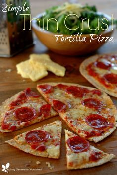 Simple Thin Crust Tortilla Pizza