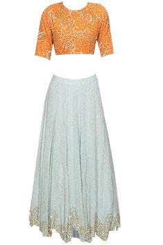 Sky blue embroidered lehenga set available only at Pernia's Pop Up Shop.