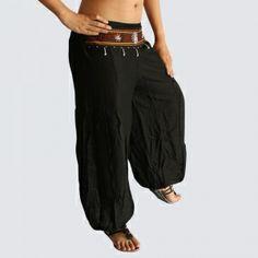 Black Oriental Decorated Harem Pants - Yoga Pants - Model P97 - Oriental Fashion #http://www.pinterest.com/OGfashion/