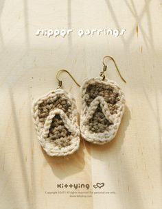 CROCHET PATTERN Slipper Earrings by Crochet Pattern Kittying from Kittying.com / Mulu.us