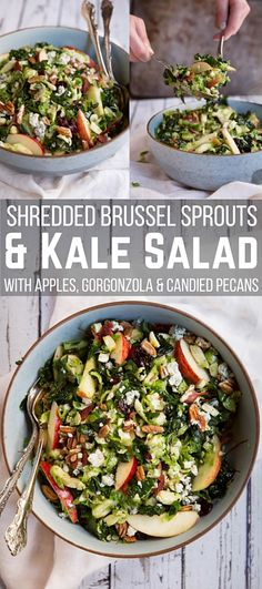 We are so obsessed with this shredded Brussels sprouts & kale salad with apples, gorgonzola and candied pecans at Get Healthy U that it's all we're talking about. This salad is incredible! If you aren't a huge Brussels sprout or kale fan this healthy salad loaded with goodies will change your mind. Each bite is like a taste explosion. Make sure to let the salad marinate a few hours per the directions, and wow your friends and family with this healthy recipe!