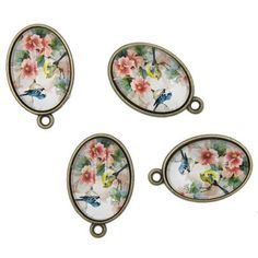 25x Vtg Bronze Flower&Birds Pattern Alloy Oval Pendant Jewelry Necklace Making J