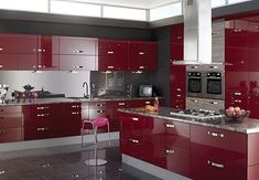 Red and black kitchen design red and black kitchen red and black kitchen ideas dark red . red and black kitchen design red kitchen decor Red Kitchen Appliances, High Gloss Kitchen Cabinets, Modern Kitchen Cabinets, Kitchen Cabinet Colors, Modern Kitchen Design, Kitchen Colors, Interior Design Kitchen, Red Cabinets, Kitchen Modular