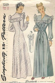 "Vintage 1940's Sewing Pattern Women's Negligee Nightdress Nightgown Bust 30"" WW2 #Simplicity"
