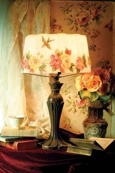English country cozy: roses, books and tea.