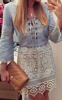 Blue V Neck Crochet Lace Up Front Lattice Sleeve Denim Dress