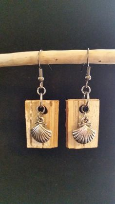 Birch Bark earring with seashell charm. craftstudio61.etsy.com $12.50