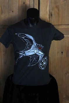 Swallow Slavic Pagan geometric cotton Kołowrót womens shirt