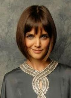 Medium length bob with bangs on Katie Holmes. I WANT!