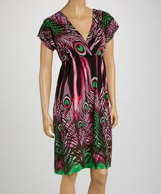 Another great find on #zulily! Black & Pink Peacock V-Neck Dress - Women by jon & anna #zulilyfinds