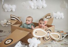 Birthday photography kids diy photo Ideas for 2019 Birthday Photography, Photography Props, Children Photography, Airplane Photography, Twin Pictures, Airplane Party, Birthday Pictures, Baby Kind, Twin Babies