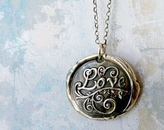Love. Wax Seal Necklace. Large Fine Silver Pendant. Sterling Silver Chain. Valentine's Day Jewelry.. $95.00, via Etsy.