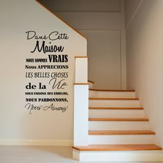 Stickers muraux citations sticker dans cette maison for Autocollant mural texte