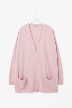 COS image 14 of Oversized wool cardigan in Powder Pink
