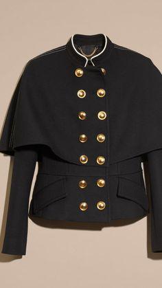 Negro Chaqueta estilo capa de inspiración militar en lana y seda - Imagen 4 Chaqueta  Militar 3223e93881e2