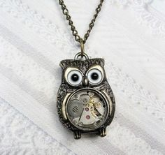 Brass Owl Necklace  Steampunk Owl Necklace  Jewelry by birdzNbeez, $26.00