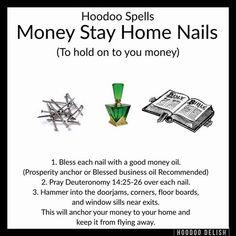 Hoodoo - Money Stay Home Nails Hoodoo Spells, Magick Spells, Witchcraft, Healing Spells, Wiccan Spell Book, Witch Spell, Spell Books, Truth Spell, Money Magic
