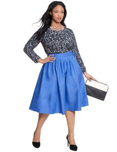 Circle Side Button Skirt | Women's Plus Size Skirts | ELOQUII