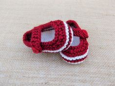 Hand Knitted Baby Bootees Booties Crib Shoes Mary Janes in Claret & White with Heart buttons 3-6 months Ready to Ship Worldwide from UK by HandKnittedYorkshire on Etsy