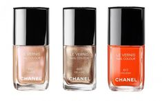 Chanel Le Vernis Nail Colour in No. 597 Island, No. 607 Delight, and No. 617 Holiday