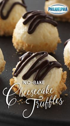 Small but full of delicious flavor, these No-Bake Cheesecake Truffles are smooth and sweet. They're coated with BAKER'S Semi-Sweet Chocolate, rolled in PHILADELPHIA Cream Cheese and dipped in crushed graham crackers. Kraft Recipes, Candy Recipes, Sweet Recipes, Holiday Recipes, Cookie Recipes, Dessert Recipes, Quick Recipes, No Bake Desserts, Just Desserts