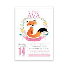 Fox Birthday Invitation Personalized Printable by crazyfoxpaper