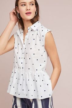 Slide View: 1: Polka Dot Peplum Top