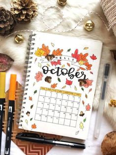 Gorgeous October bullet journal spread by ig@letteringwithelena