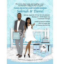 Baby Boy's Room African American Couple Shower Invitation