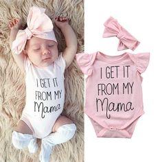 Newborn Baby Girls Cothes Word Print Round Neck Sleeveless Ruffle Bodysuit Bow H Mama Baby, Baby Tritte, Baby Girls, Baby Girl Newborn, Baby Girl Onesie, Baby Girl Bows, Its A Baby Girl, Baby Bodysuit, Toddler Girl