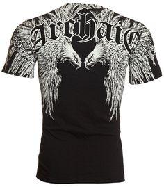 Archaic AFFLICTION Mens T-Shirt FIRST UP Skulls Wings Tattoo Biker UFC (XXX-Large)