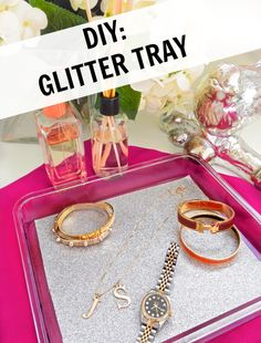 A chic glitter tray that makes for a great gift!