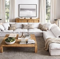 Restoration Hardware December 2018 Sale, Best Modern Farmhouse Furniture Stop Everything: Restoration Hardware Is Having a Major Sale Living Room Sectional, Home Living Room, Apartment Living, Living Room Designs, White Couch Living Room, Large Sectional Sofa, Charcoal Sectional, Corner Sofa Living Room, White Couches