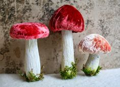 Hand Dyed Silk Velvet - Handmade Woodland Forest Mushrooms #WoodlandChristmas Classic Red