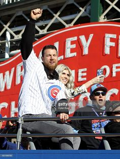 Ben Zobrist of the Chicago Cubs waves to the crowd during a World Series victory parade on November 2016 in Chicago, Illinois. The Cubs won their first World Series championship in 108 years after defeating the Cleveland Indians in Game First World Series, Chicago Cubs World Series, Cubs Pictures, Ben Zobrist, Cub Sport, Cubs Players, Mlb Postseason, Victory Parade, Cubs Win