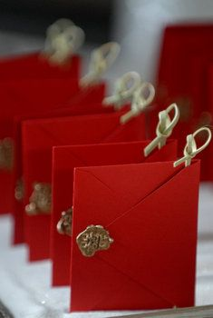 Red embellished 'tie the knot' envelopes for #wedding invitations & wedding stationery ... Wedding ideas for brides, grooms, parents & planners ... https://itunes.apple.com/us/app/the-gold-wedding-planner/id498112599?ls=1=8 … plus how to organise an entire wedding ♥ The Gold Wedding Planner iPhone App ♥