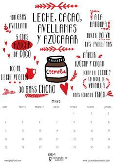 http://pipol-art.com/blog/desayunos-golosones-para-que-salir-de-la-cama-sea-menos-duro-calendario-descargable-de-mayo-con-receta-ilustrada/ #calendariodescargable #freebie #recipe #cacao #recetasaludable #nutellasaludable #cremadecacao #cocinandoelcambio #pipolart #recetailustrada