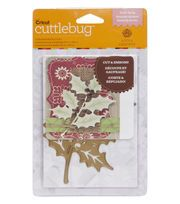 The new Cricut Cuttlebug™ Cut  and  Emboss Dies, featuring artwork by Anna Griffin®, will cut intricate shapes with embossed details. Use the A2 size Holly Sprig die to cut an intricate holiday design