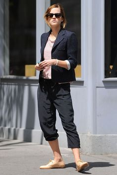 Emma Watson... love her style. Want those pants and that pair of shoes