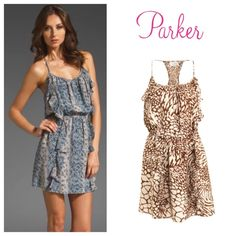 Parker Silk Two Ruffle Dress in Animal Print Silk Parker dress with fun animal print throughout. Bought from another posher, but sadly it doesn't fit me. Great condition, found no stains or rips. According to the brand size chart, Small is roughly equivalent to a US size 4. Parker Dresses Mini