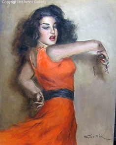 Spanish Dancer by Pal Fried (American/Hungarian, 1893–1976)  From Herbert Arnot Gallery. Click image for more info