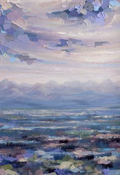 """""""Beneath the Surface"""" 36""""x36"""" MELISSA MCKINNON Contemporary Abstract Landscape Artist features BIG COLOURFUL PAINTINGS of Aspen & Birch Trees, Rocky Mountains and stunning views of the Canadian prairies, big skies and ocean beaches. Western Art. (Close-up detail of painted clouds, sky and Canadian Rocky Mountains)"""