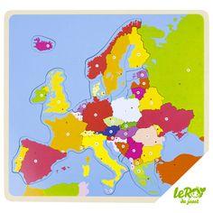 Puzzle de l'Europe en bois avec tous les pays et les drapeaux Leroy du jouet