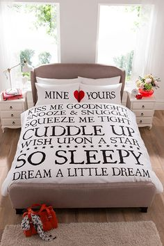 Mine & Yours Duvet Set Cover & Pillowcases Love Cuddles Red Heart Couple Duvet Bedding, Duvet Sets, Bed Sets, Towel Set, Your Space, King Size, Home And Living, Cuddling, Beautiful Homes